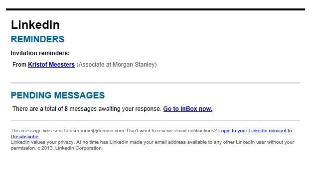 Fake LinkedIn email